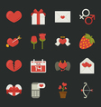 Valentines day icons love symbols flat design vector