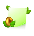 Note with golden easter egg in green leaves vector
