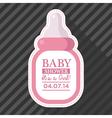 Pink baby bottle card vector