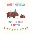 Little piggy and mother birthday greeting card vector