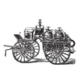 Fire wagon vintage engraved vector