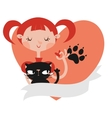 Girl with her cat template vector