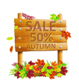 Wooden sign with autumn leaves vector