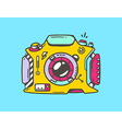 Linear of yellow photo camera on blue backgr vector