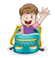 A boy in the school bag vector