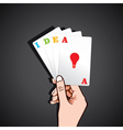 Playing card in hand with idea concept vector