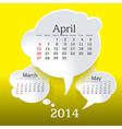 April 2014 bubble speech calendar vector