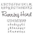 Hand drawn script font set vector