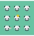 Panda icons set in flat design vector