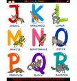 Cartoon english alphabet with animals vector