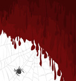Halloween card with bloody background and spider vector
