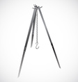 Camping tripod with chain hook realistic vector
