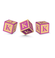 Letter k wooden alphabet blocks vector