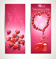Vertical flyers with hearts vector