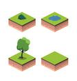Tree isometric ground lake bush vector