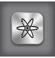 Atom icon - metal app button vector