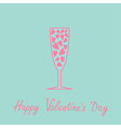 Champagne glass with hearts inside blue and pink vector