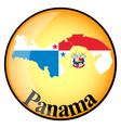 Orange button with the image maps of panama vector