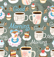 Pattern delicious cup of coffee vector