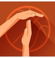 Sports with basketball gesture sign timeout vector
