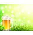 Pint of beer on bokeh light background vector