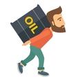 Businessman carrying barrel of oil vector