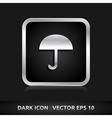Umbrella icon silver metal vector