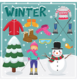 Set of winter elements and vector