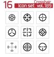Balck crosshair icons set vector