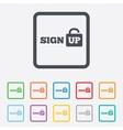 Sign up sign icon registration symbol vector