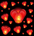 Chinese lantern heart shape vector