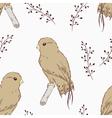 Hand drawn bird seamless pattern vector