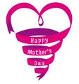 Happy mothers day card heart shaped ribbon vector