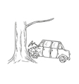 Car accident sketch vector