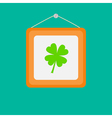 Four leaf clover picture frame on the wall flat vector