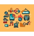 Color flat music icons set vector