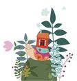 Cartoon snail with house vector