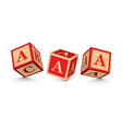 Letter a wooden alphabet blocks vector