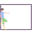 Pointing boy at frame vector