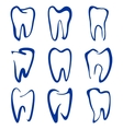 Abstract teeth set sketch cartoon vector