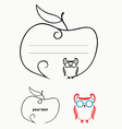Apple label with owl ornate decoration vector