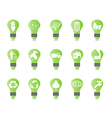Green light bulb icon set vector