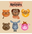 Collection of hipster cartoon character animals vector