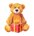 Teddy bear sits with a red gift watercolor vector