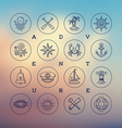 Travel adventures and nautical line drawing icons vector