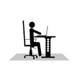 Man sitting at the computer vector
