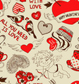 Retro seamless pattern with funny cartoon love vector