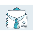 White open envelope with blue tie vector