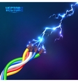 Electric lightning flash to colored cables vector