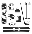 Winter sports equipment icons silhouettes vector